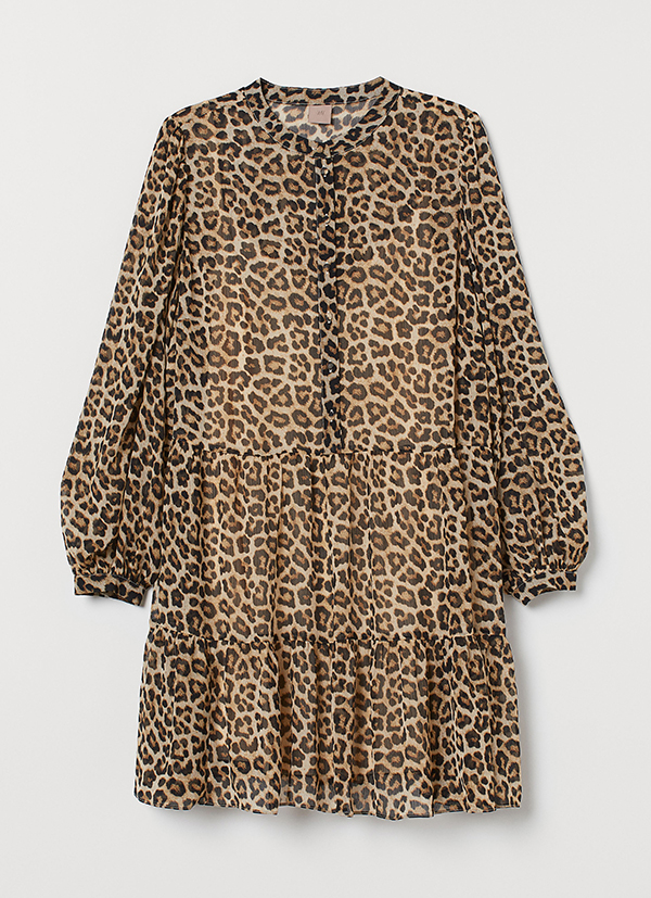 A plus-size animal print mini dress.
