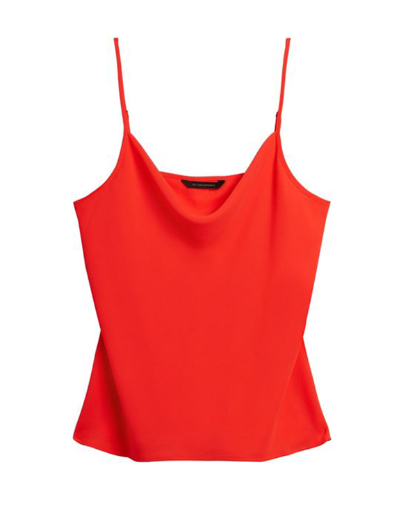 A plus-size red satin cami.
