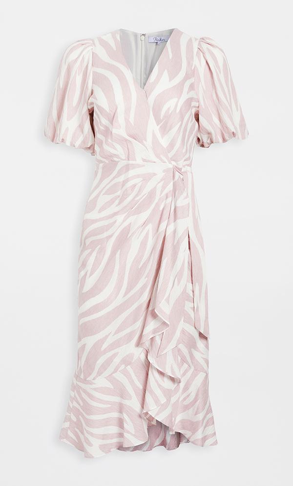 A plus-size pink zebra stripe wrap dress.