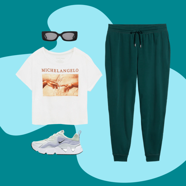 A plus-size outfit collage, featuring a pair of sweatpants, a T-shirt, a pair of sunglasses, and a sneaker.
