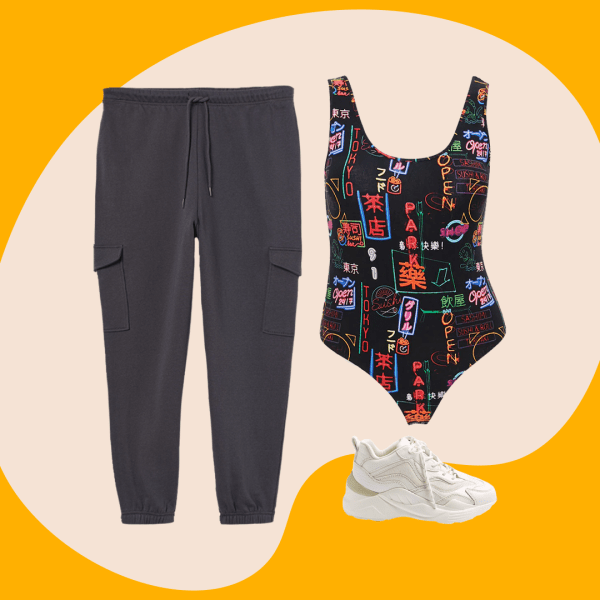 A plus-size outfit collage, featuring a pair of sweatpants, a bodysuit, and a sneaker.