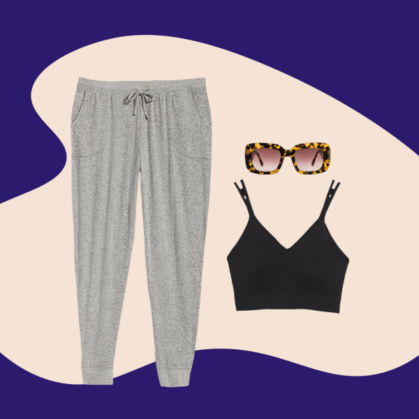 A plus-size outfit collage, featuring a pair of sweatpants, a bralette, and a pair of sunglasses.