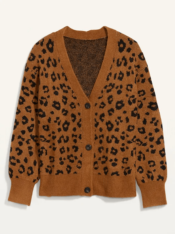 A brown leopard print sweater.