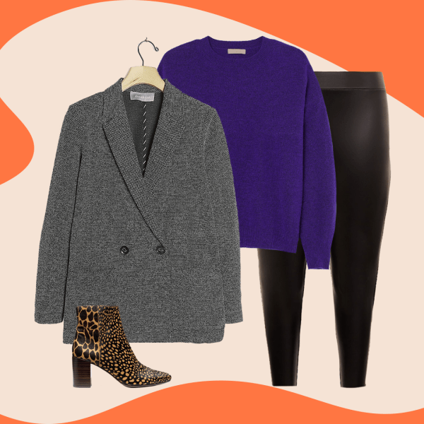 A collage with a gray blazer, purple sweater, black leggings, and animal print boots.