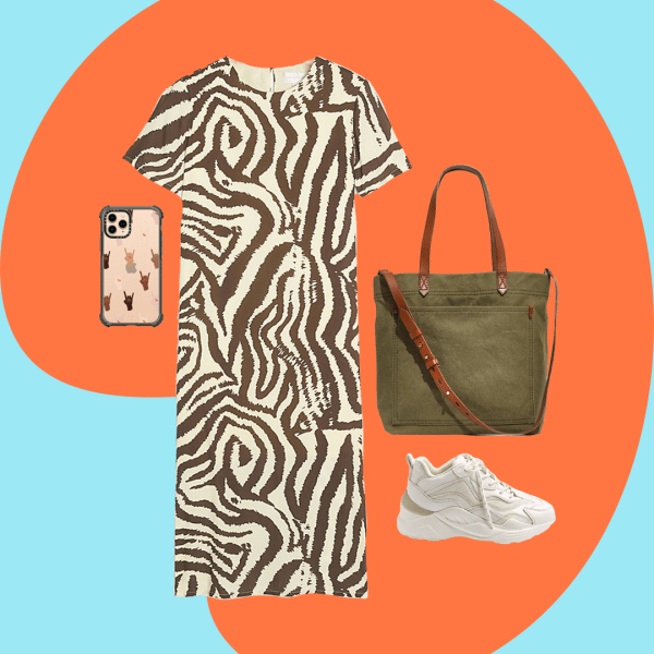 A collage with a zebra print maxi dress, dark green bag, white sneakers, and a phone case.