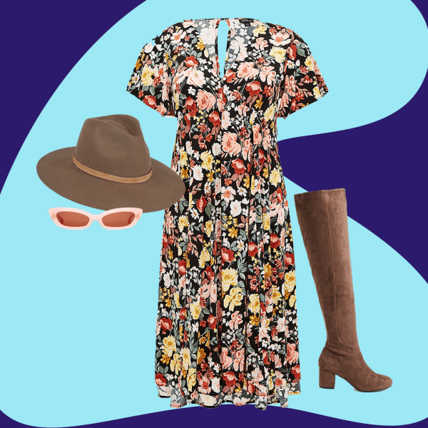 A collage with a floral dress, brown boots, brown hat, and pink sunglasses.