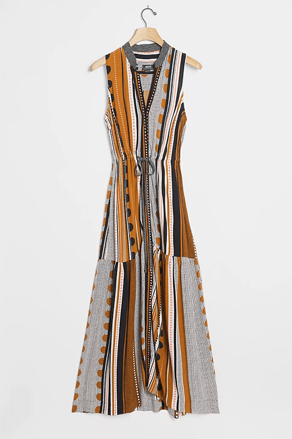 A plus-size printed fall maxi dress.