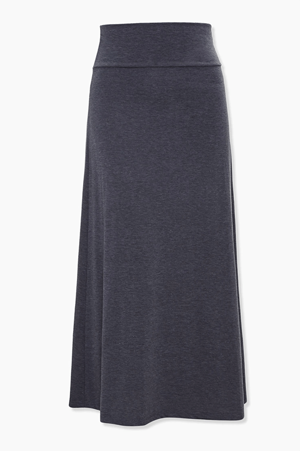A plus-size charcoal maxi skirt.