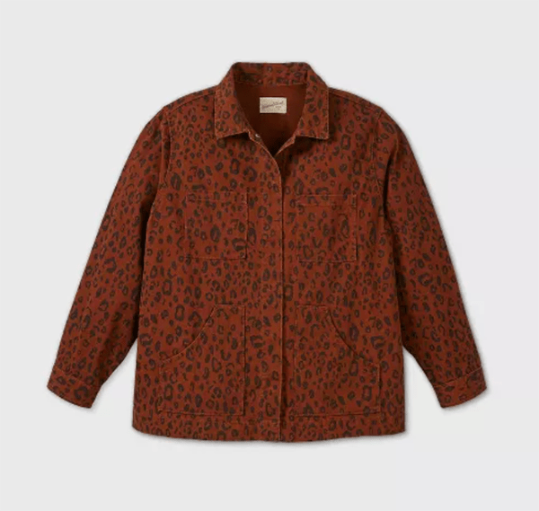 A plus-size cheetah print shirt jacket.
