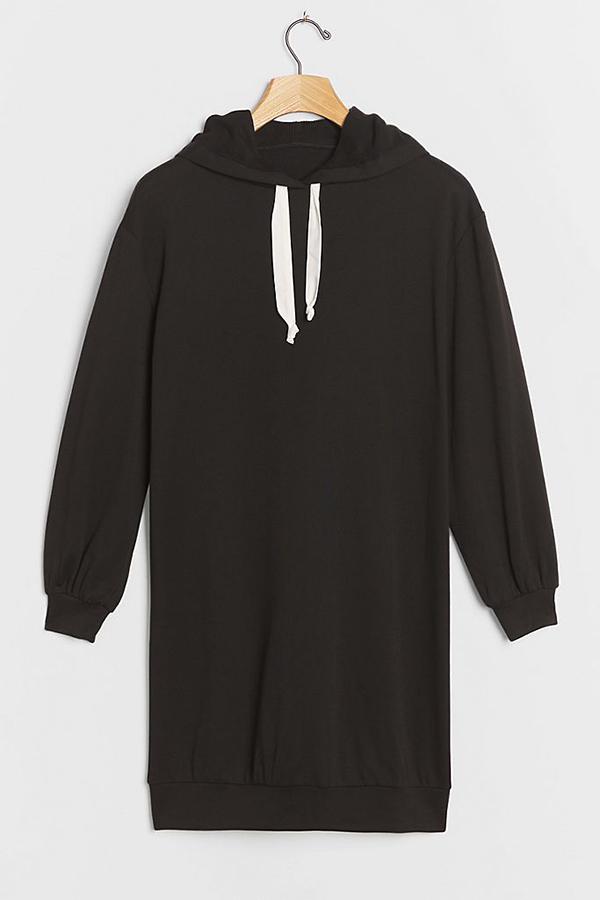 A plus-size black sweatshirt dress.