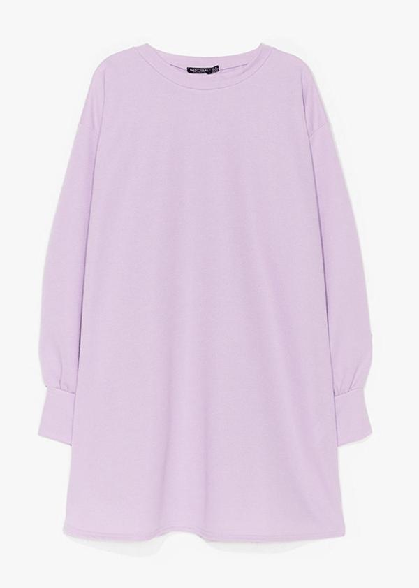 A plus-size lavender sweatshirt dress.