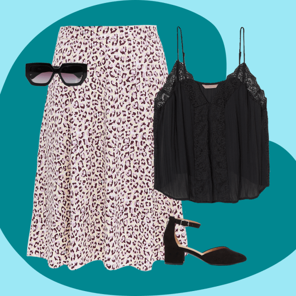 A collage featuring an animal print skirt, black cami, sunglasses, and black heels.