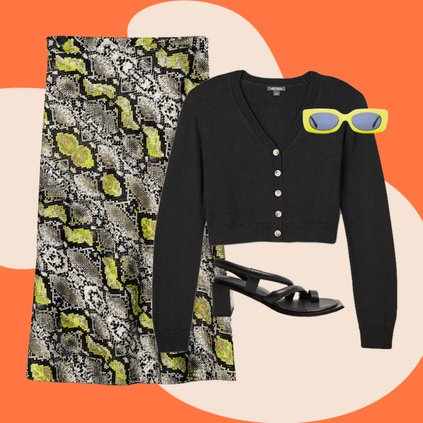 A collage with snake print skirt, black cardigan, neon sunglasses, and black heels.