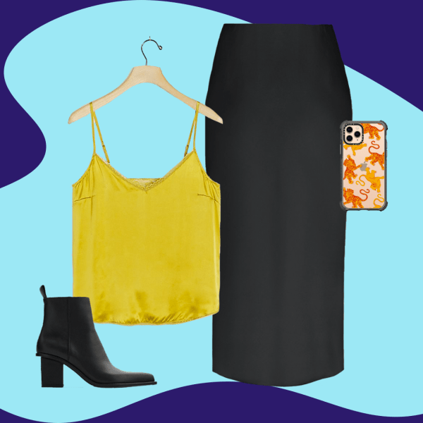 A collage with a black satin skirt, yellow cami, black booties, and a phone case.
