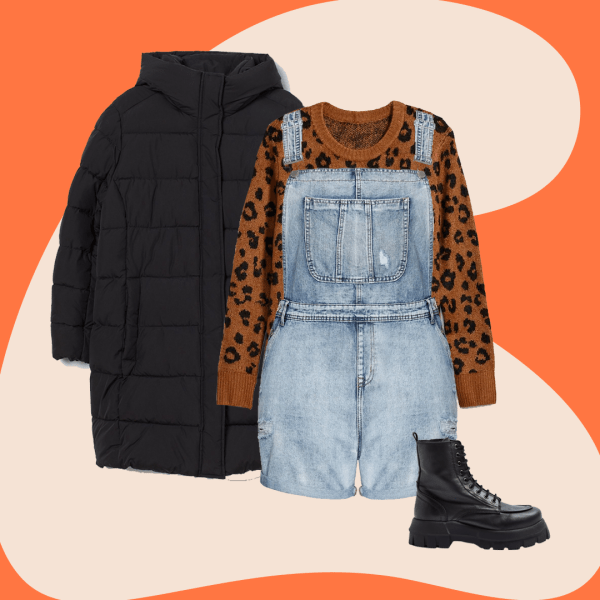 Plus-size short overalls, an animal print sweater, black puffer coat, and black combat boots.