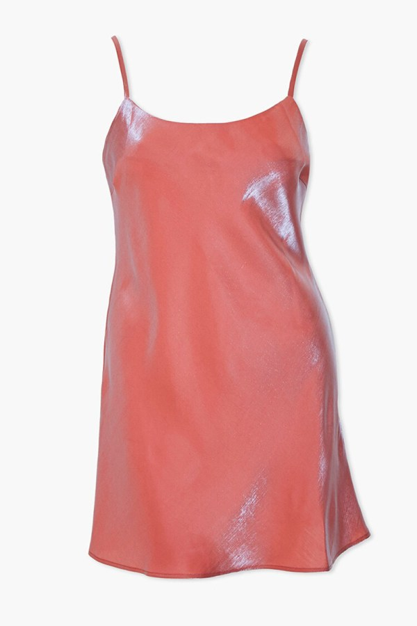 A plus-size pink mini slip dress.
