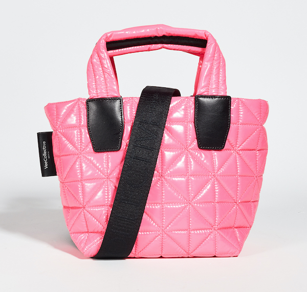A pink puffer tote.