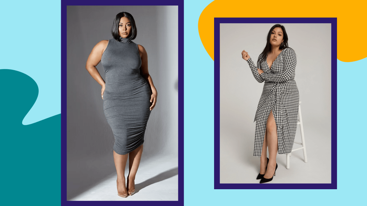 Two plus-size models wearing sexy fall dresses.