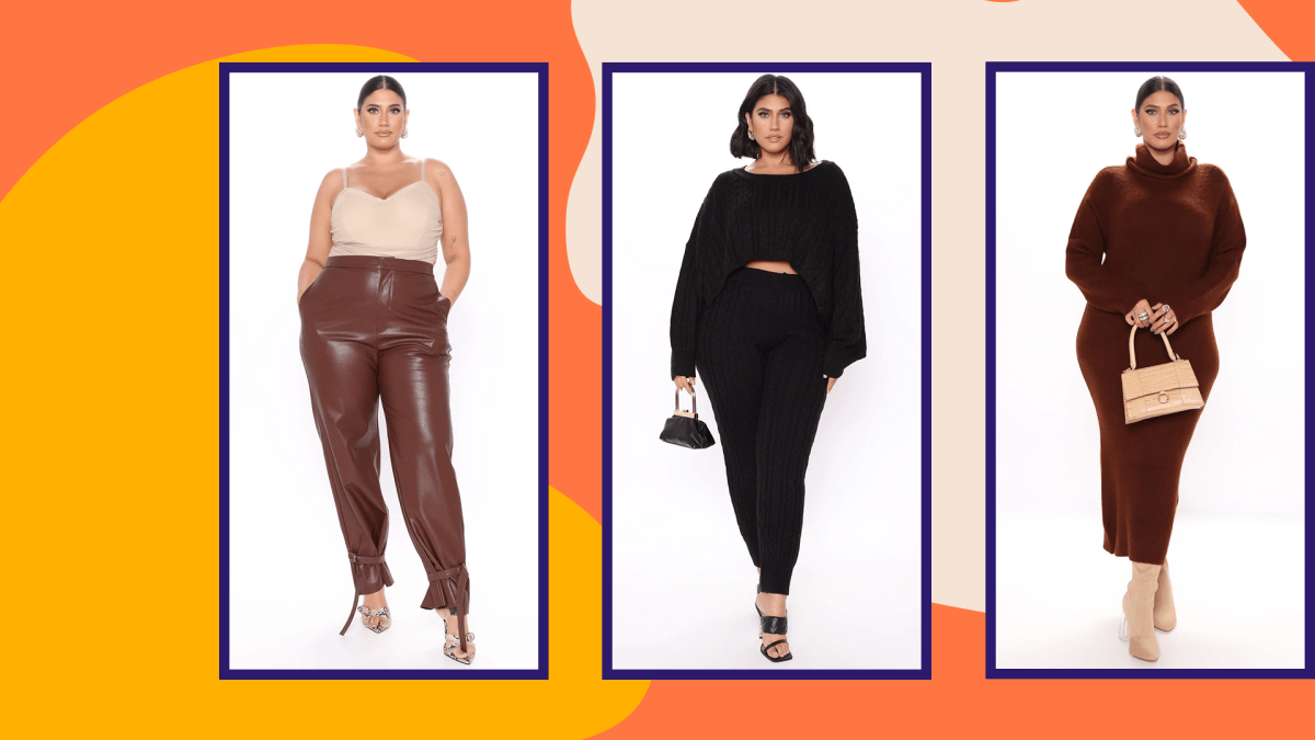 A plus-size model wearing brown leather pants, a plus-size model wearing an all-black outfit, and a plus-size model wearing a brown bodycon sweater dress all from Fashion Nova.