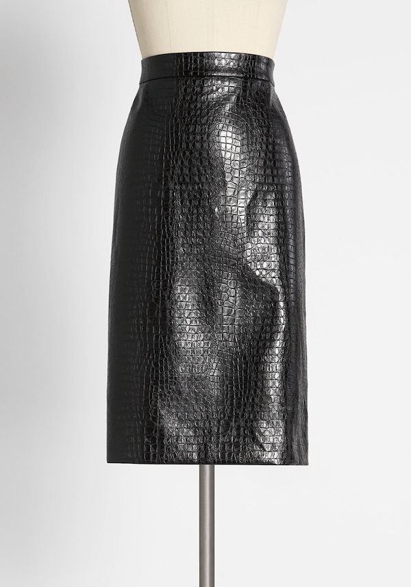 A faux leather midi skirt from ModCloth.