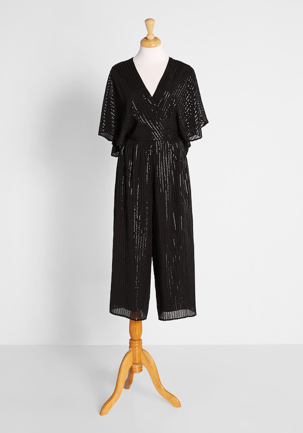 A black velvet jumpsuit from ModCloth.
