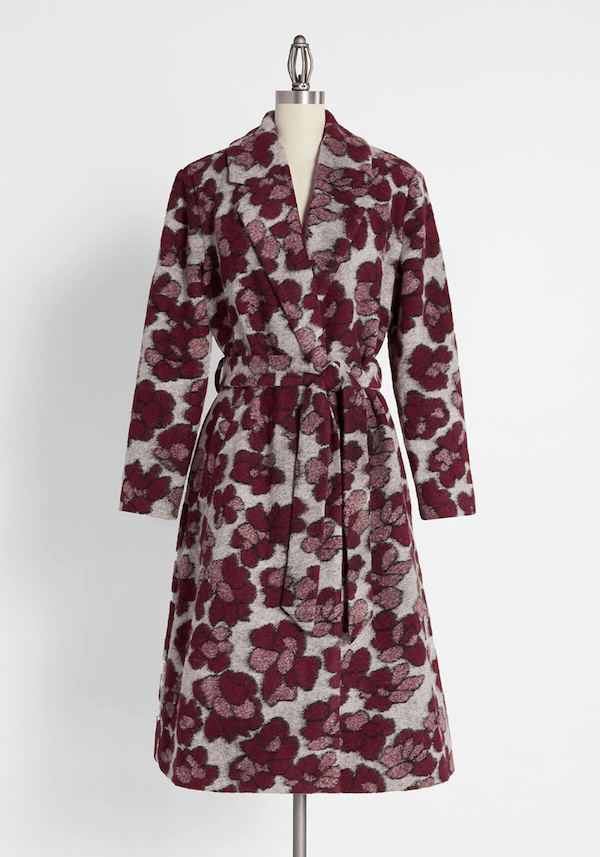 A two-tone purple coat from ModCloth.