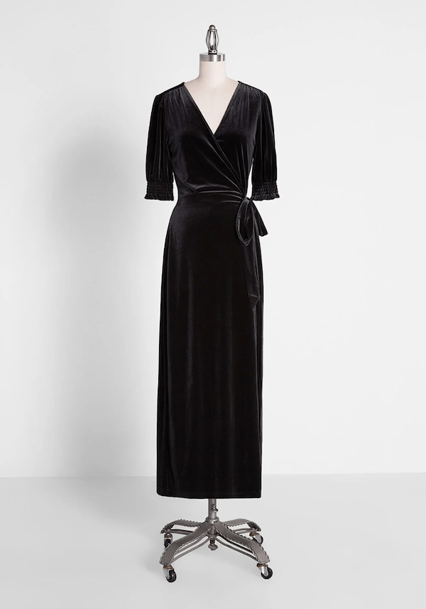 A velvet maxi dress from ModCloth.