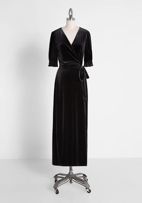A velvet maxi dress from ModCloth.