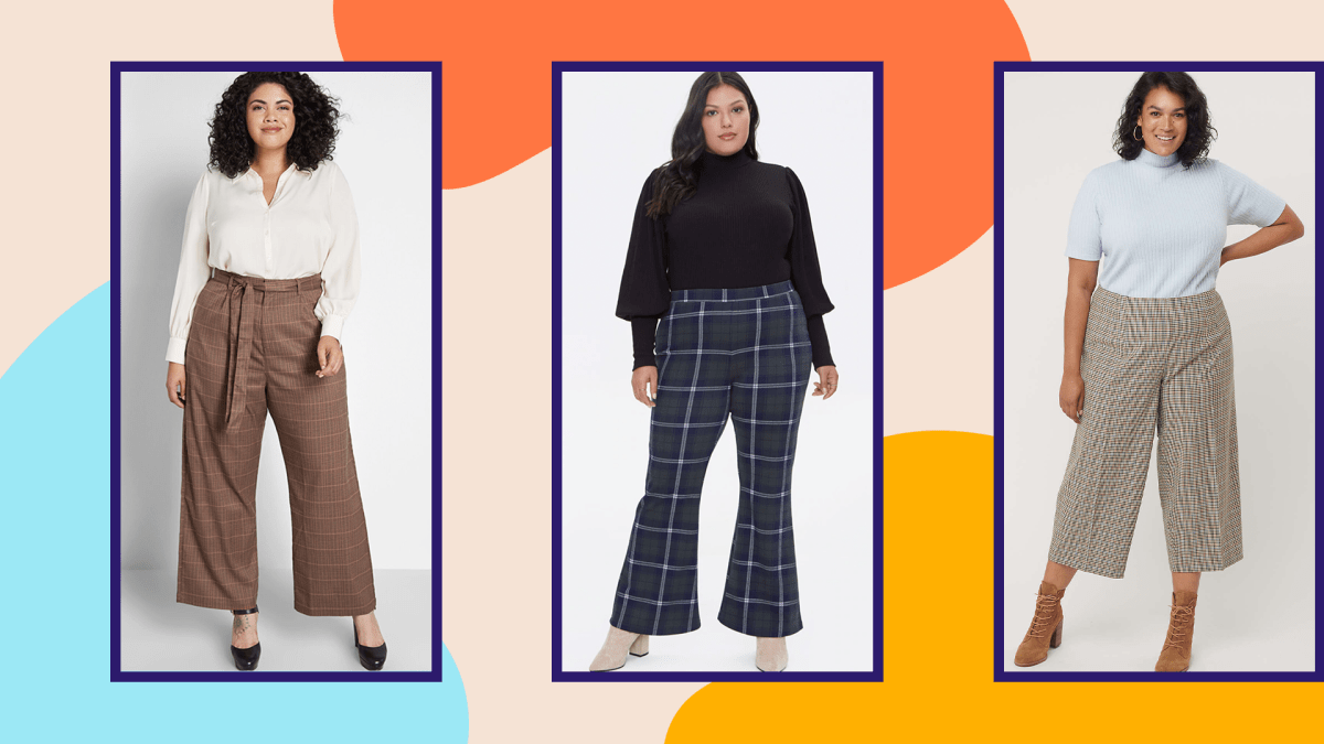 A plus-size model wearing a pair of brown wide-leg plaid pants, a plus-size model wearing a pair of plaid flare pants, and a plus-size model wearing a pair of wide-leg plaid pants.