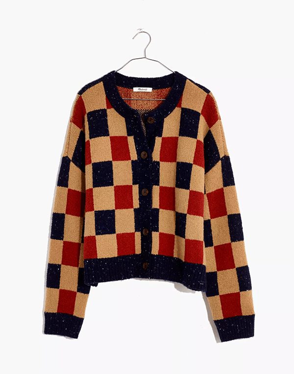 A checker print sweater, which will be marked down at Madewell's 2020 Black Friday sale.