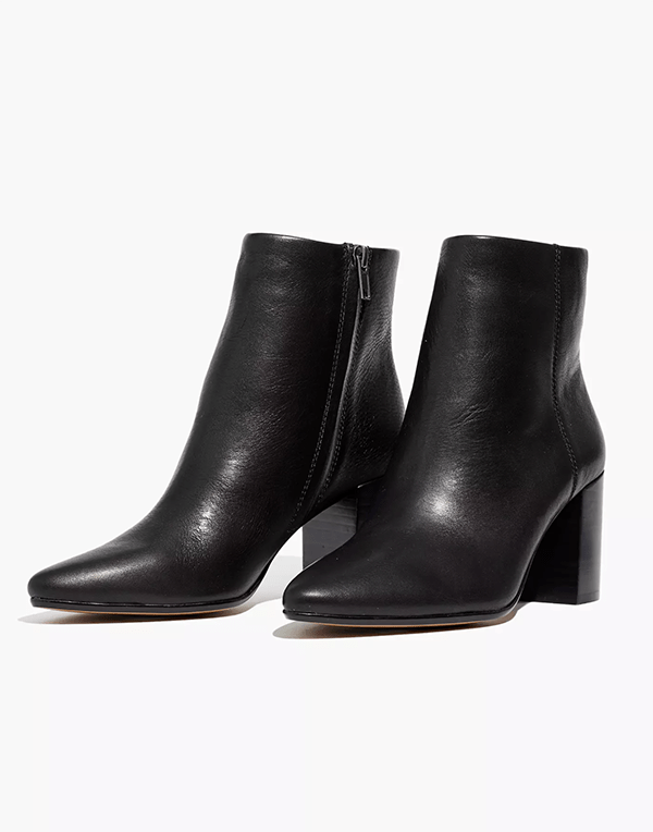 A pair of black ankle boots, which will be marked down at Madewell's 2020 Black Friday sale.