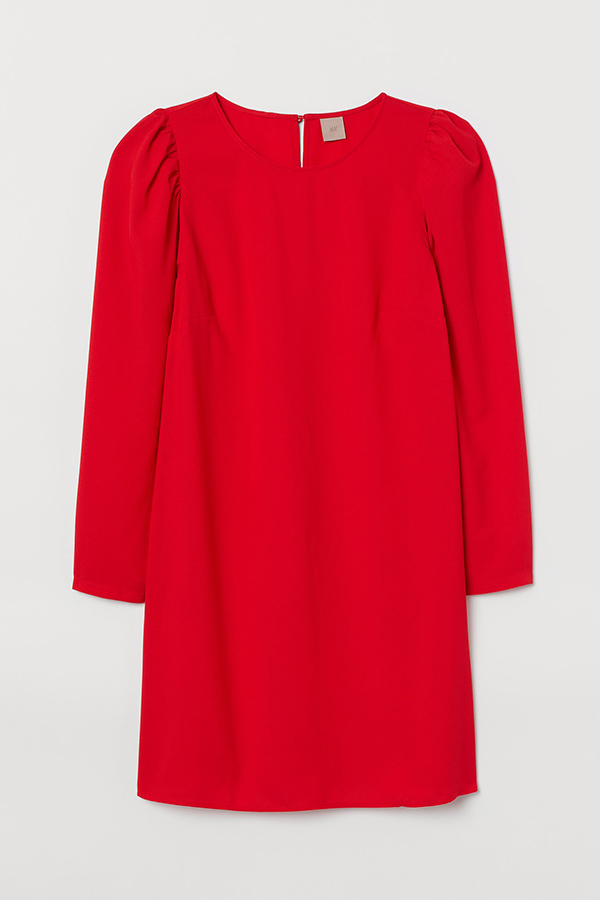 A plus-size red shift dress.