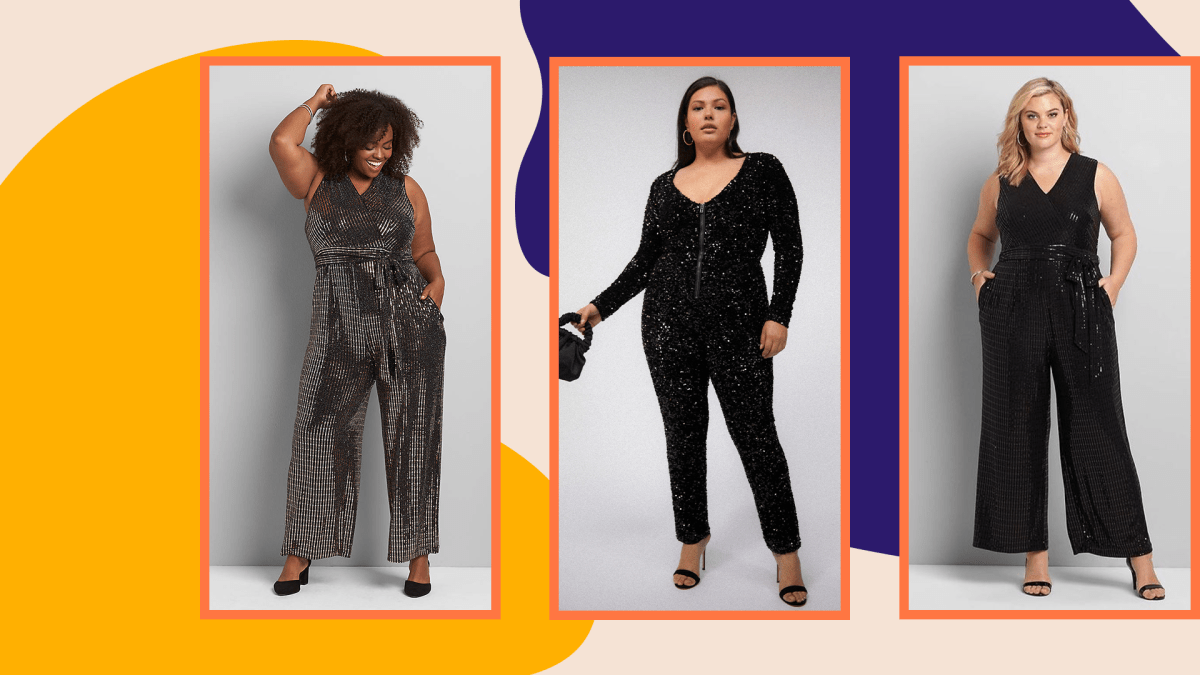 Three plus-size models wearing sequin jumpsuits.