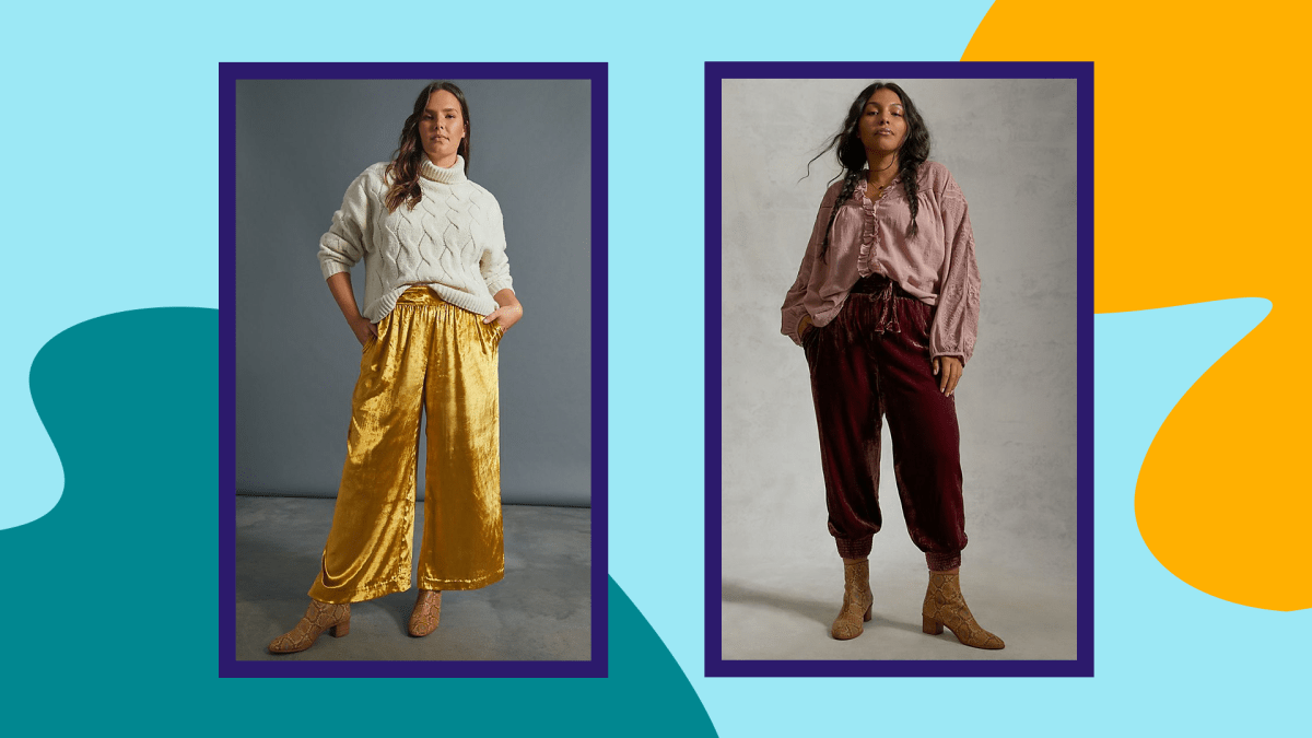 A plus-size model wearing dark yellow velvet pants and a plus-size model wearing burgundy velvet joggers from Anthropologie.