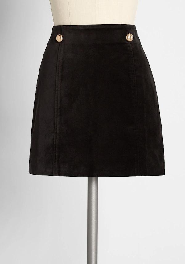 A velvet mini skirt from ModCloth.