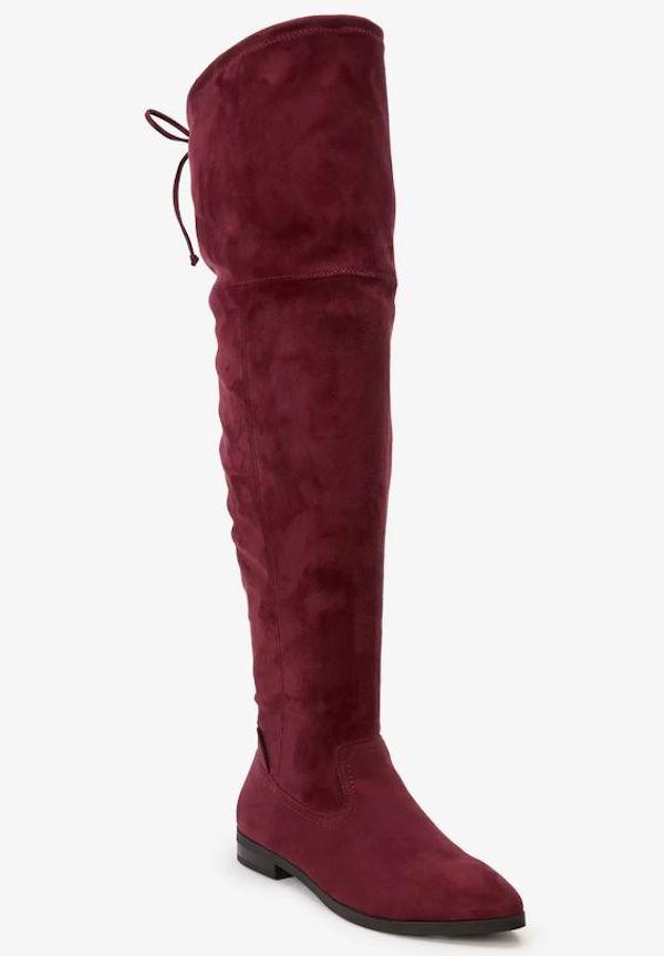 Dark red wide-calf thigh-high boots.