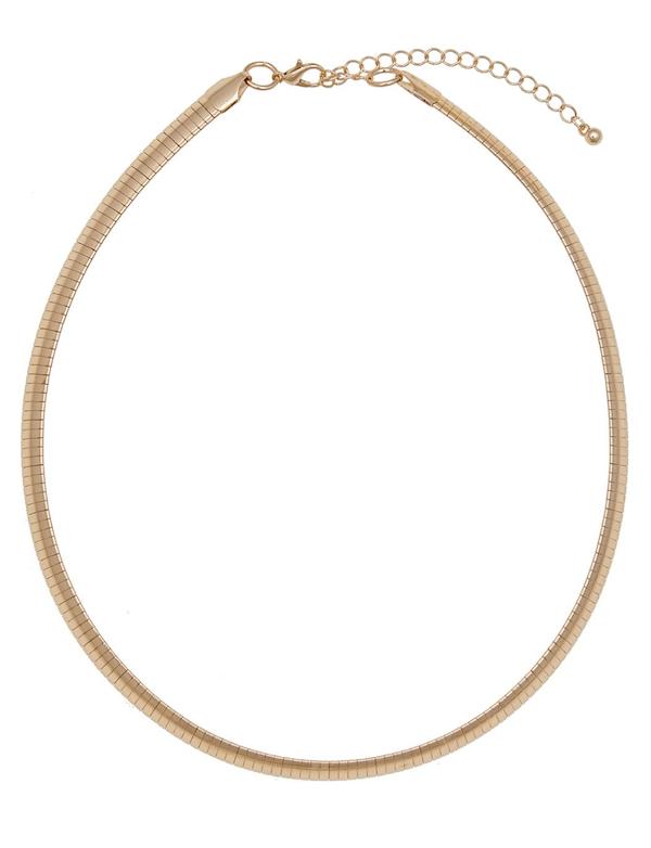 A gold choker necklace.