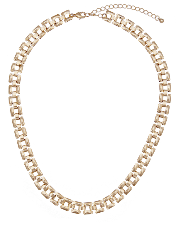 A gold chain choker necklace.