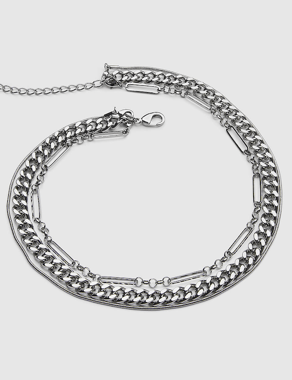A silver chain choker necklace.