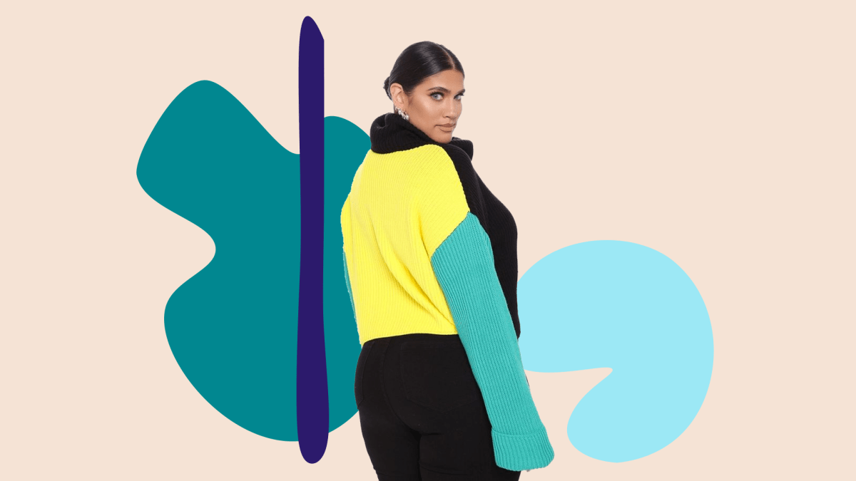 A model wearing a plus-size colorblock sweater.