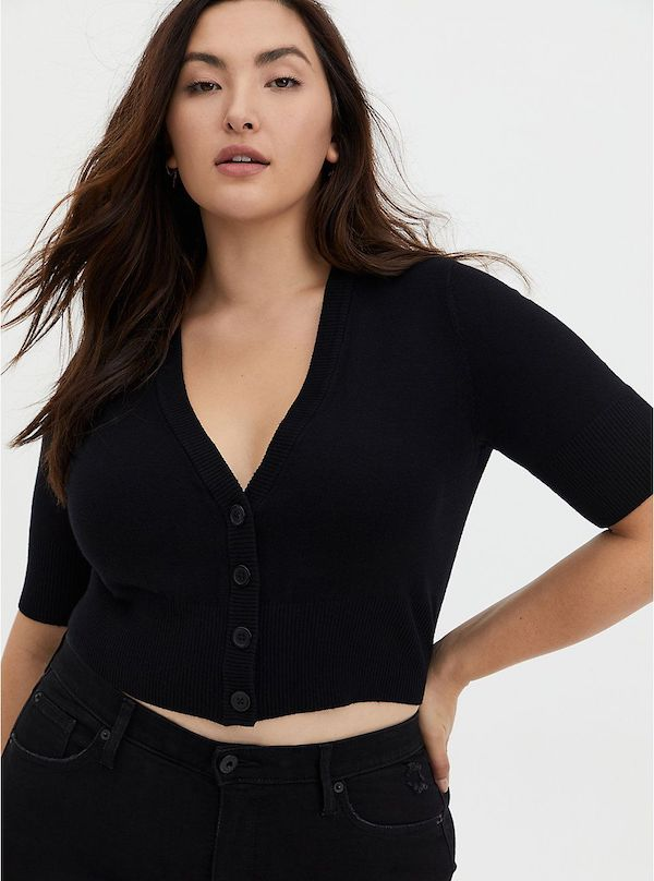 A model wearing a plus-size cropped sweater in black.