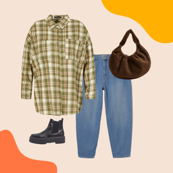 A green plaid flannel, light-wash jeans, brown purse, and black booties.