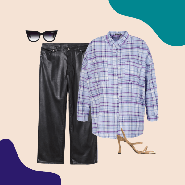 A blue and purple plaid flannel shirt, leather pants, black sunglasses, and nude heels.