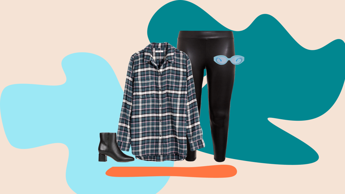 A teal plaid flannel shirt, faux leather leggings in black, blue sunglasses, and black booties.