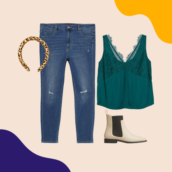 Mid-wash jeans, a teal lace top, cream booties, and a leopard print headband.