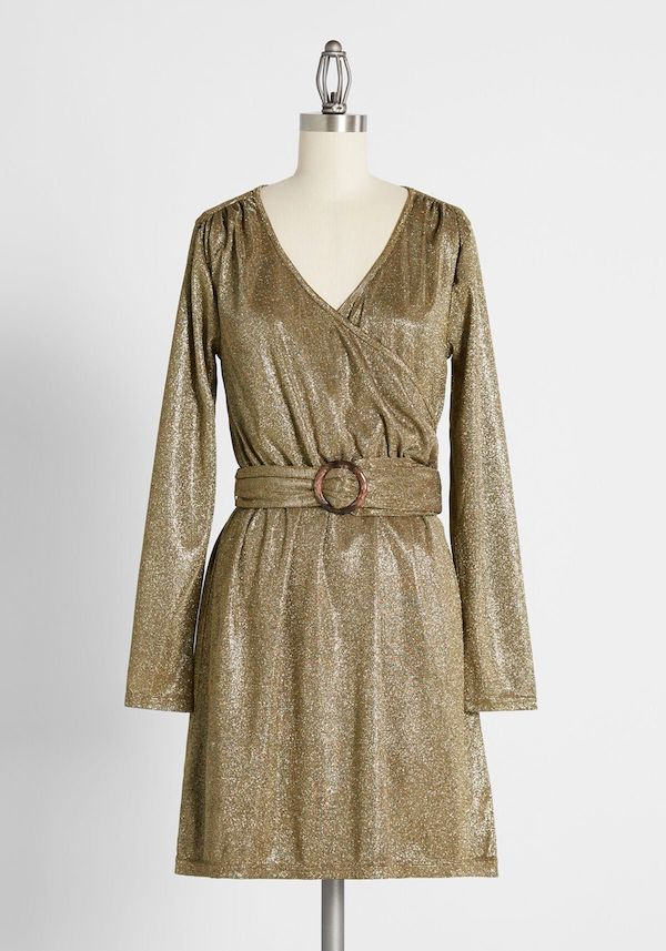 A plus-size metallic gold dress.