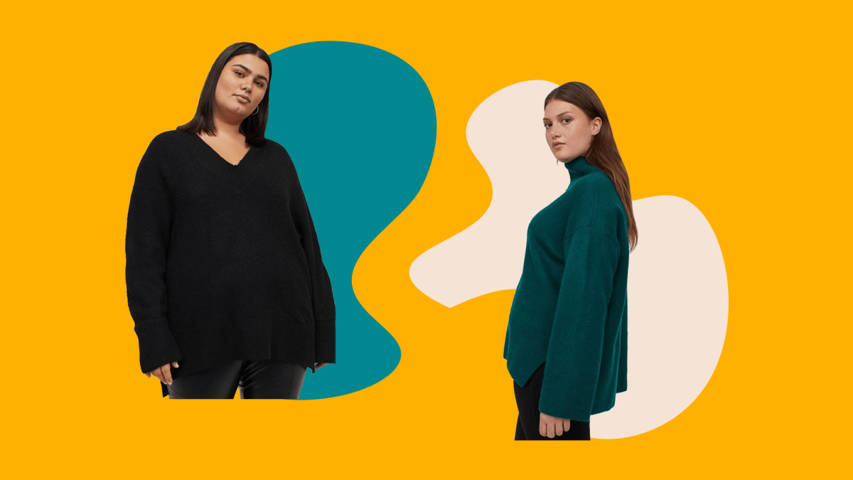 A model wearing a plus-size black oversized sweater and a model wearing a plus-size green oversized sweater.