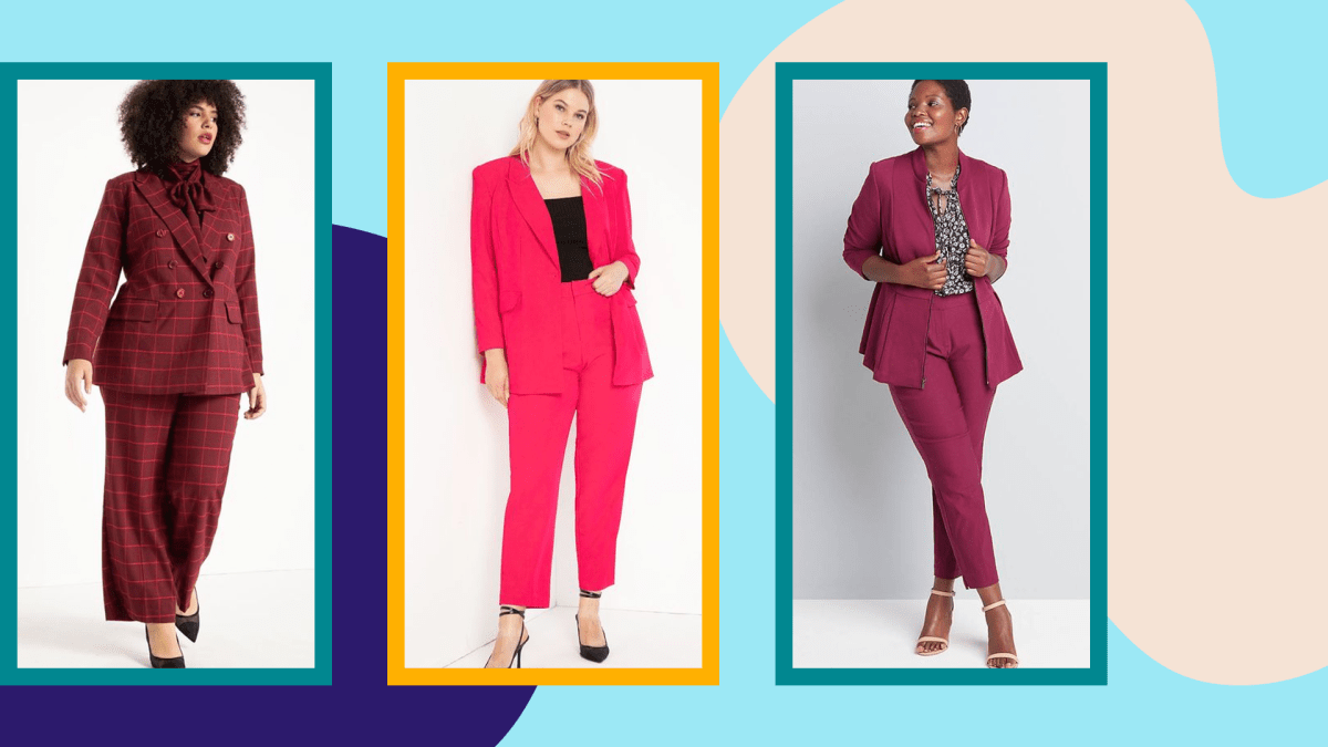 A model wearing a plus-size dark red suit, a model wearing a plus-size pink pant suit, and a model wearing a plus-size dark purple pant suit.