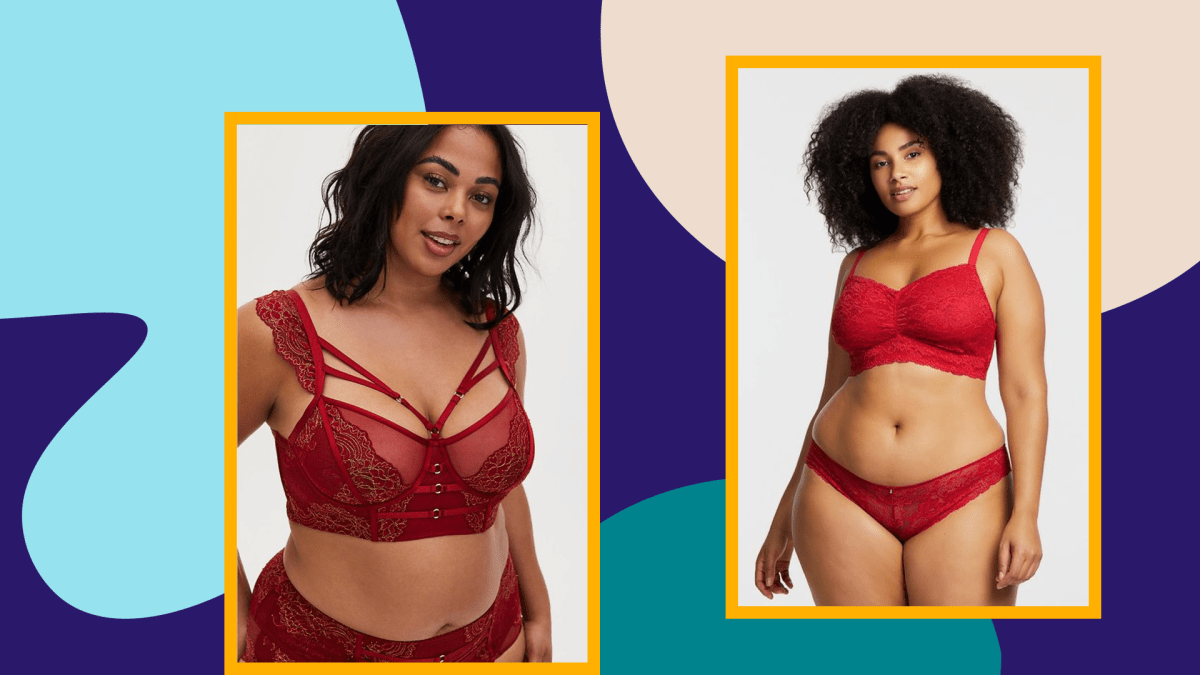 A model wearing a plus-size red bra and a model wearing a plus-size red bra and panties.