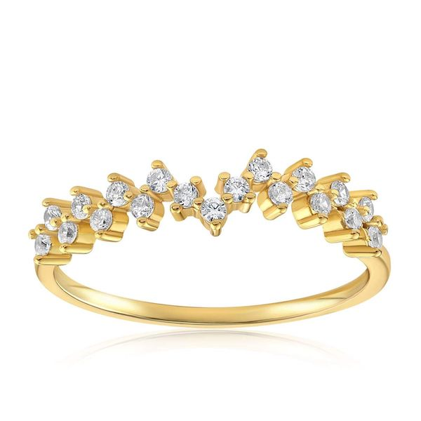 A plus-size gold jeweled ring.